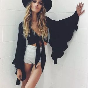 Black bell sleeve flared ruffle tie crop top sexy